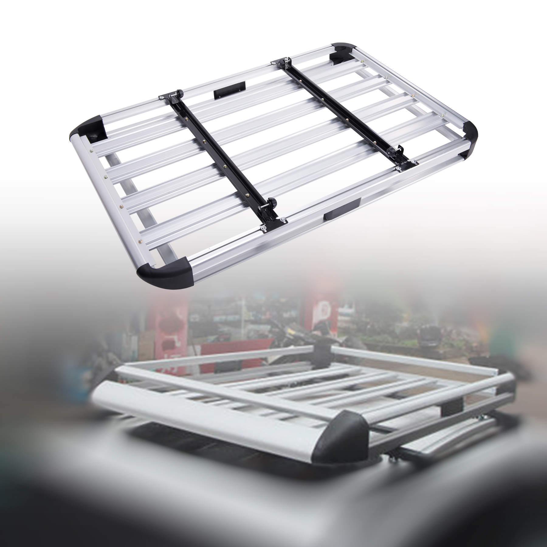 Universal Aluminum Car Roof Cargo Carrier Luggage Basket